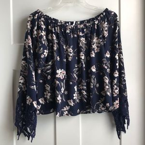 Lush Navy Floral Off the Shoulder Top - Small